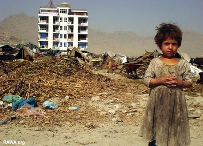 poverty afghanistan girl building