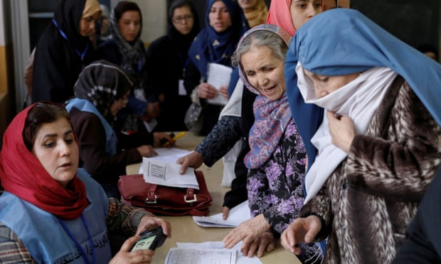Women at a polling station last year. The Taliban said the women joining the talks would be normal Afghans. Photograph Mohammad IsmailReuters