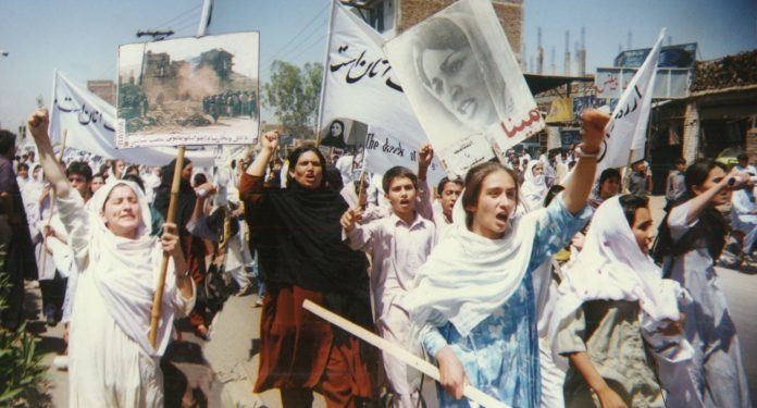 RAWA protest rally against Taliban in Peshawar April28 1998 696x375